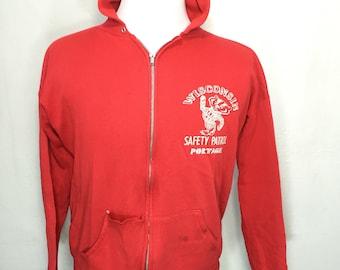 80's distressed wisconsin university full zip up hoodie 50/50 blend