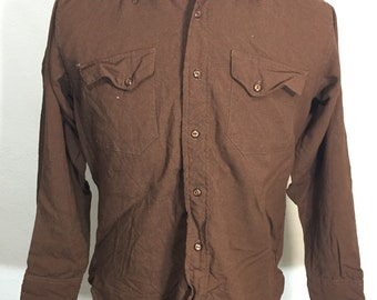 40's vintage gabardine shirt wool brown mens
