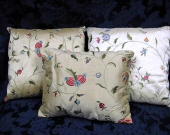 Set of Three Asian Machine Embroidered Silk Decorative Pillows