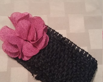Thick black headband with pink flower