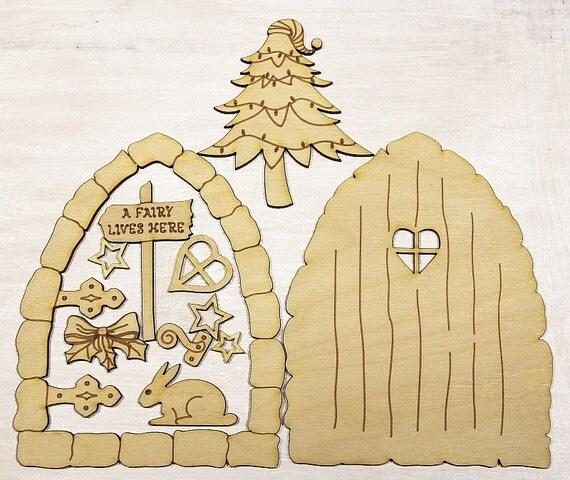 Fairy door christmas 3d elf wooden house blank craft for Fairy door shapes
