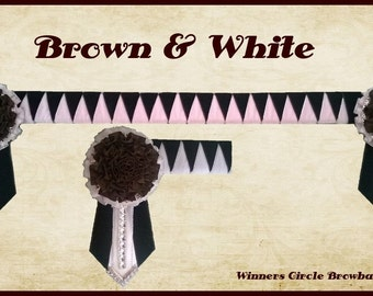 Brown & White Carnation Browband