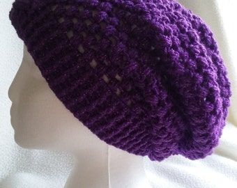 Super slouchy handmade hat with button. Purply and sparkly, what's not to love?