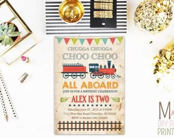 Train Party Invitation Card_2,Choo Choo Train Party invitation,Chugga Chugga,Train Invitation, Train Party, Choo Choo Train Invitation