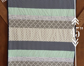 Baby Boy Crib Quilt with Navy Blue, Mint, Green, Silver, Gray, Dot,  and Chevron