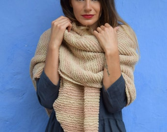 Hand knitted big merino wool shawl. Wool wrap