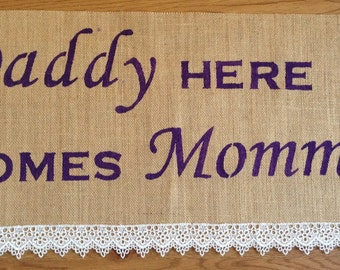 Here Comes burlap wedding sign