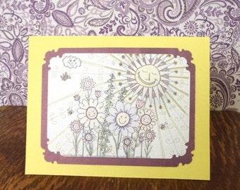 Friendship Card, You Make Me Smile, Just Because, Thinking of You, Original Art, Handmade Card, TwoSistersGreetings