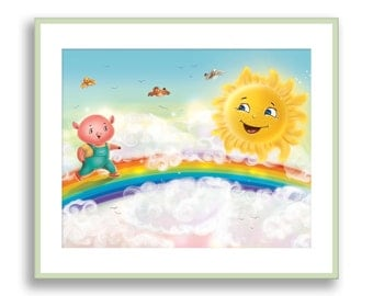 Childrens Wall Art, Kids Room Decor, Nursery Prints, Rainbow, Sun, Pig Print, Baby Nursery Wall Decor, Playroom Wall Art, Baby Animal Print