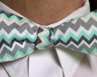 Grey Bow Tie - Mint Bow Tie - Striped Bow Tie - Mint Wedding - Self Tie Bow Tie - Mens Bow Tie - Wedding Bow Tie - Prom Tie - Spring Wedding