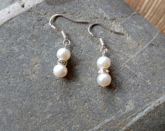 Freshwater Pearl and Crystal Rondelle Earrings - Sterling Silver, Wedding Earrings, Bridal Earrings, Bridesmaids Earrings, Bridesmaid Gift