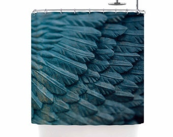 angel shower curtain ombre blue bathroom decor surreal angel wings blue black