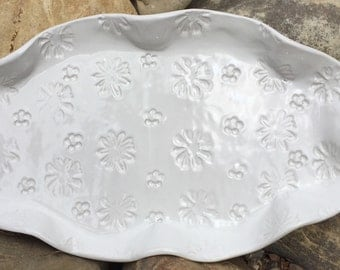 White Serving Platter with floral imprint