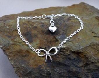 Bracelet bow loop heart silver