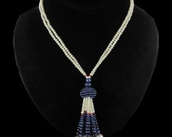 Pompom necklace beads sapphires of culture of rubelites modern