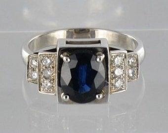 Art deco modern 18K White Gold Sapphire diamond ring