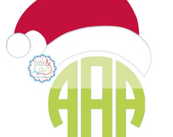 Monogram Topper - Santa Hat SVG DXF EPS