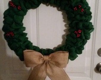 18 inch burlap holly wreath