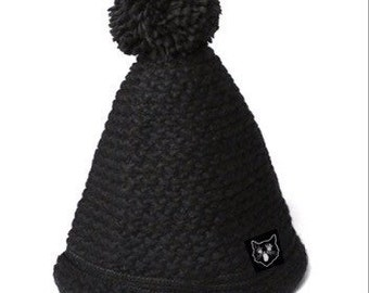 Wooly Witch Hat Black Cat Beanie
