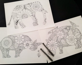 Elephant, Rhino and Hippo, African and Asian Animals  - Adult Colouring Pages