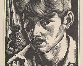Howard Cook Original Block Print Self Portrait Colophon Edition 1932 Woodcut in Mat, Not Framed
