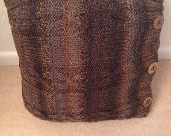 Hand knitted Brown Shades Cushion Cover 16'' square (41cm)