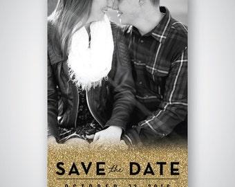 Save The Date - Gold - Glitter - Modern - Bold - Photo - Custom - Printable