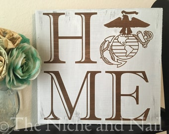 Marine Corps Sign, Home EGA Sign, Rustic Military Decor, Retirement Gift, Gift for Him, Gift for Her, USMC Decor Sign