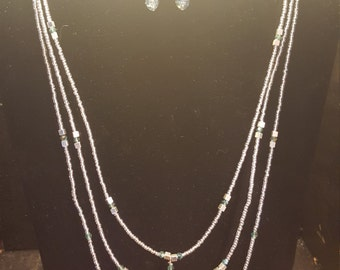 Triple strand with gorgeous glass tear drops