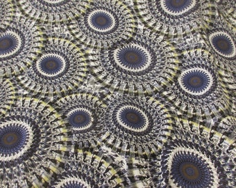 Grey Mandala Print 100% Viscose Summer Printed Dress Fabric. Price Per Metre.