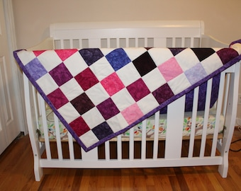Crib Size Baby Quilt with Purples, Pinks and Whites