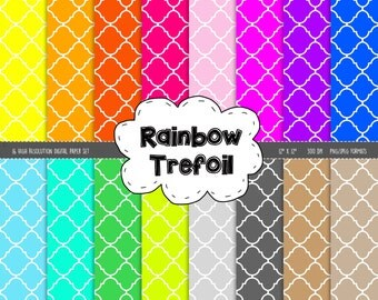 Trefoil Digital Scrapbook Paper - 16 Graphics - 300dpi - 12x12 inches - JPEG and PNG - Personal and Commercial - Instant Download - Rainbow