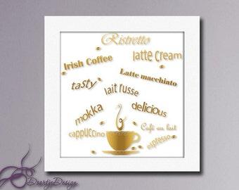 Printable Art Coffee, Coffee Art, Coffee Decor, Kitchen Art, Instant Download, Wall art Gold, Printable Art, Printable quote