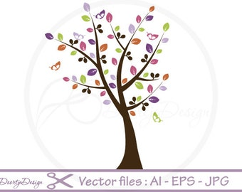 SALE Tree Butterflies Vector File, EPS Files Tree, Instant Download, Colorful Tree, AI files Tree, cut files Tree, Vector Graphics