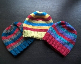 Simple Striped Hat Kids M/L - knitted winter hat