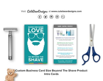 Custom R+F Business Card Size Beyond The Shave Product Intro Card