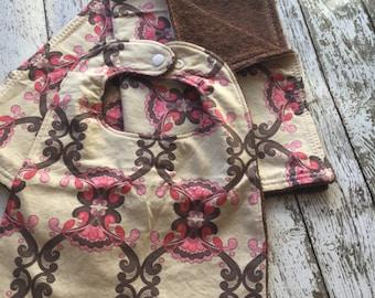 Pink and Brown Bib and Burp Cloth Set