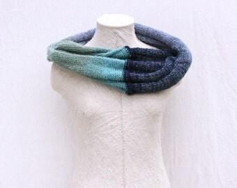 Dawn 1 blue lavender seafoam machine knit infinity scarf cowl Circle shoulder warmer mohair warm shawl