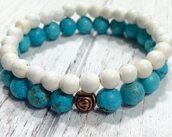 FREE X-BOX raw turquoise bracelet,Turquoise bracelets,turquoise and howlite bracelet,yoga bracelet,mala jasper bracelet,boho bracelet,bohemi