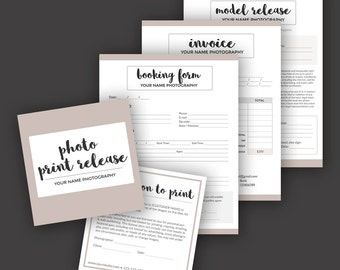 Photography Business Forms Bundle - Model Release, Print Release, Booking, Invoice Templates - Photoshop PSD *INSTANT DOWNLOAD*