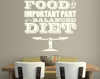 rvz1443 Wall Decal Vinyl Sticker Food Important Part Balanced Diet Quote Sign