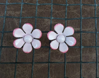 Pink Enamel clip on daisy flower earrings