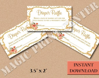 Baby Shower, Diaper Raffle Tickets, Shabby Chic Peach and Gold, Flowers, Girl, DIY, INSTANT DOWNLOAD, Printable