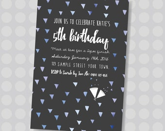 Blue or Pink Party Popper Triangles, Colourful Triangles    Downloadable Invitation    Printable JPG/PDF