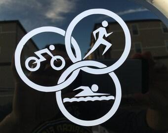Triathlon Car Decal / Triathlete Decals / Run Bike Swim Decal
