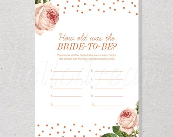 How old was the bride,How old was she, Guess the bride age, Bridal Shower Games, Bridal Party - SKUHDG08