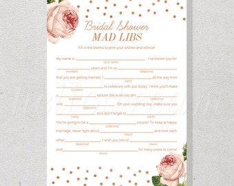 30% OFF Vintage Rose Bridal Mad Libs, Classic Rose Gold Bridal Shower Game, Confetti Bride Advice Card Wedding Shower - SKUHDG08