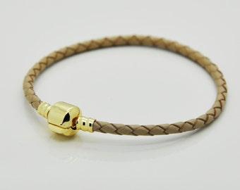 Brown Leather Bracelet, European Charm Leather Bracelet, Leather Bracelet.