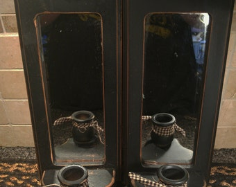 Primitive Hand Painted Black Distressed Wood Sconce, Candle Holders with Mirrors  Country Farmhouse Decor