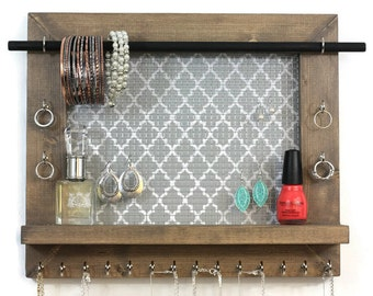 Jewelry Organizer - Pick Your Color Quatrefoil - Wall Hanging Jewelry Display